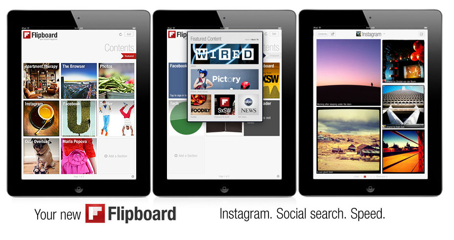 soupsoup:  New Flipboard adds Instagram and social search.