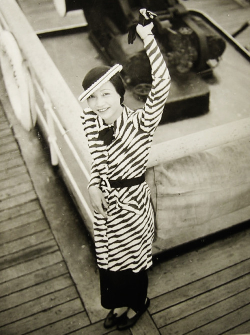 Actress Anna May Wong aboard the SS Aquitania Ship 1934