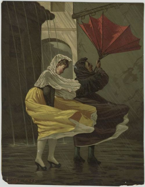 nypl:  The unfortunate reality expected to plague NYC today - rain, wind, flooding and just simple, utter grossness. This timely image from 1875 comes from our Miriam and Ira D. Wallach Division of Art, Prints and Photographs.   Good to see the fashion-conscious (heels) vs the practical (boots) still was a cultural tension for women back in 1875.