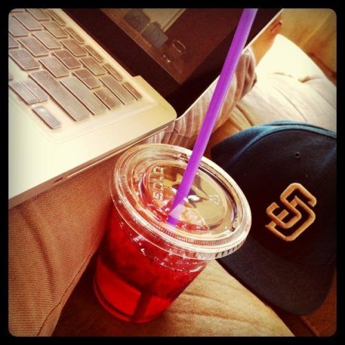 G'Morning. Swedish berries, Padres fitted, and the beautiful sun :) (Taken with instagram)