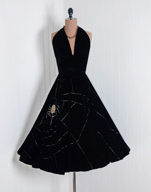 1950's Gold Embroidered Spider-Web Black Silk Velvet Halter Dress