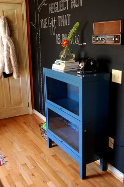 chalkboard wall + blue