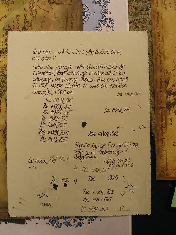 lordoftheringsfan:   Elijah Wood's practice page for Frodo's Red Book of Westmarch scene.