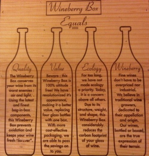 Tasting tonight, 6-9pm: Wineberry Boxes! 3 eco-friendly liters of delicious French wine… Save the world while getting tipsy.  We've got a Sauvignon Blanc from Bordeaux, a Chardonnay from Burgundy, and a classic Bordeaux blend of Cabernet Sauvignon, Cabernet Franc, and Merlot.  Don't miss this one!