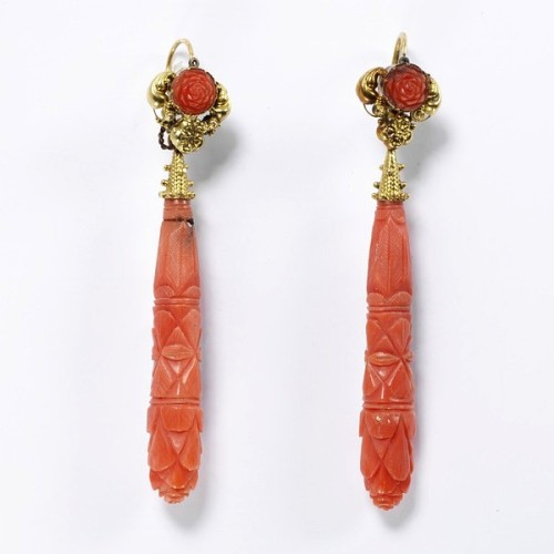 Carved coral earrings made in Italy circa 1830.