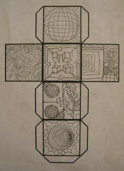 Gr. 5 are finishing up pencil drawings for their Op Art Cubes.  Next steps: Sharpie, cut, fold & glue!