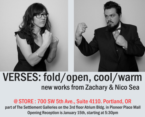 "Last chance to see Zachary & Nico Sea's ""Verses"" fold/open, cool/warm."" Show ends this Sunday, March 13th. STORE is a gallery in Portland, OR dedicated to showing emerging artists  and college students in the area. STORE, PLACE, TRADE, and PEOPLE'S  make up Settlement, a family of galleries occupying Pioneer Place Mall  in the heart of downtown Portland. The collection shown here is curated  through the gallery to express the artistic influences of those we work  with. Please stop by and see us on the 3rd floor of the Atrium Building at Pioneer Place Mall, Suite 4110.  Gallery Hours are Thursday through Sunday, from Noon to 6pm."