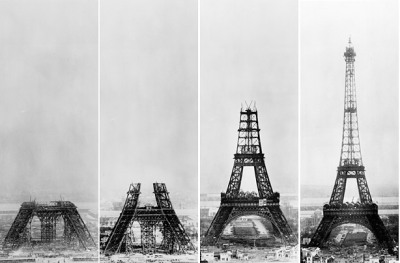 "infrastructures:  Eiffel Tower (ca. 1887 - 1889), Paris, France (photo via Google Image search for ""Eiffel Tower 1887 - 1889"")"