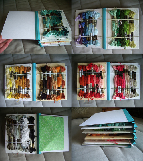 cajunmama:  embroidery floss organizer (by Lori Hutchinson)  Handmade book to organize embroidery floss. Gorgeous.