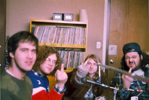 Krist Novoselic, Kurt Danielson, Kurt Cobain and Tad Doyle at KUSF in San Francisco, Feb. 14, 1990. (Photographer unknown.)