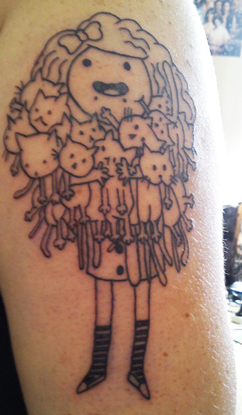 Meow - tattooed by Sera Lawson, Hamilton New Zealand.   - http://birdtea.tumblr.com/
