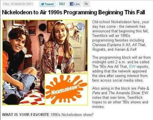 OLD SCHOOL NICK COMES THIS FALL! :) Best news ever!