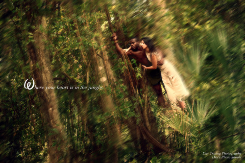 My newest Disney photograph. Tarzan and Jane Very little edit. Only used Picasa and photoshop for blemish, smoothing out, coloring. Natural motion blur and everything. It's actually two photographs. The left and the right. The blemishing work can be seen in the middle. But it doesn't really need blemishing work because it moved the camera to face the left side so it matches with the right when I shot it.