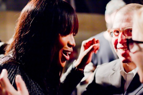 Naomi Campbell chatting it up after Alexander McQueen Fall 2011/Winter 2012 RTW