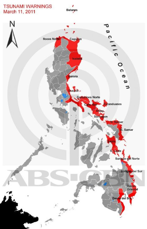 pinoytumblr:  Map of Philippine provinces affected by Phivolcs tsunami alert. (via abscbnnews)