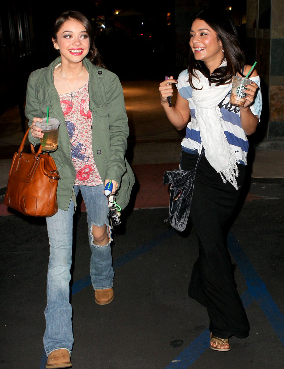 Sarah Hyland and Vanessa Hudgens was spotted laughing and joking after getting a bite to eat in Beverly Hills - March 10, 2011