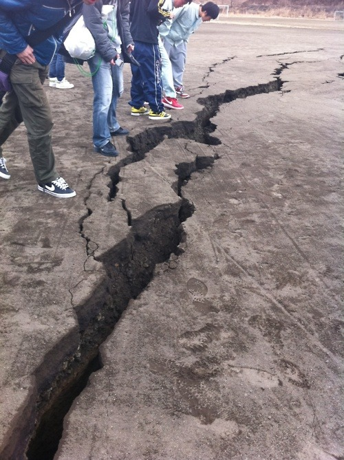 A crack left in Earth… Japan had a 8.8 earthquake. We need to pray for Japan. (Note: this photo was taken from a twitpic from Ryan LeFevre )