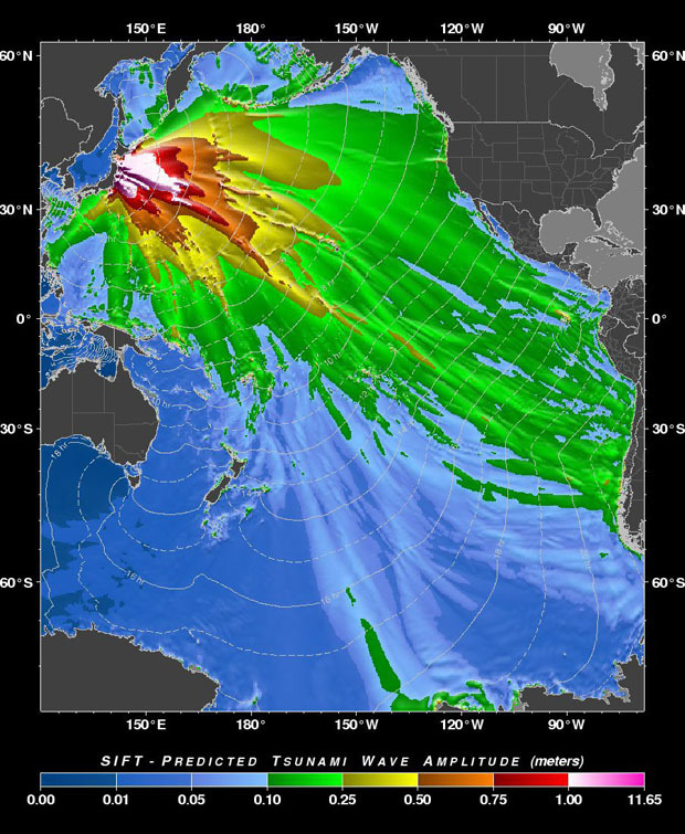 clearscience:  moderation:  msnbc:  This image provided by the Pacific Tsunami Warning Center shows a tsunami forecast model predicting the wave height of the tsunami generated by the Japan earthquake. (via Globe and Mail)  wow!  The Clear Science staff can't help but imagine the equations behind such a forecast. To all our readers in the Pacific, do take care.   Blows my mine, the model, the scale, the damage. Fingers crossed for all involved.
