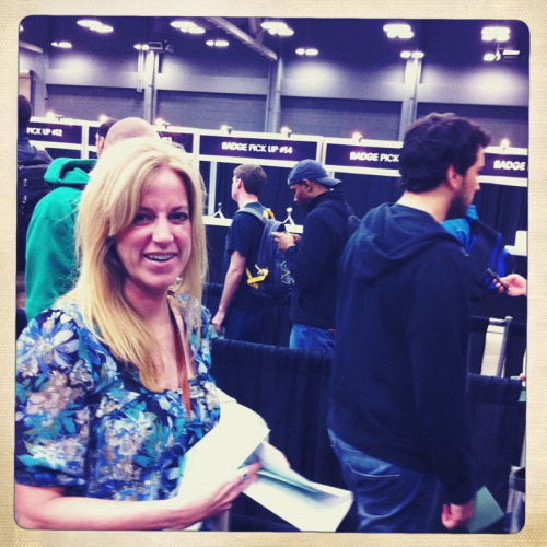 Sue Bell, DDB Broadcast Godess, picks up her pass for SXSW