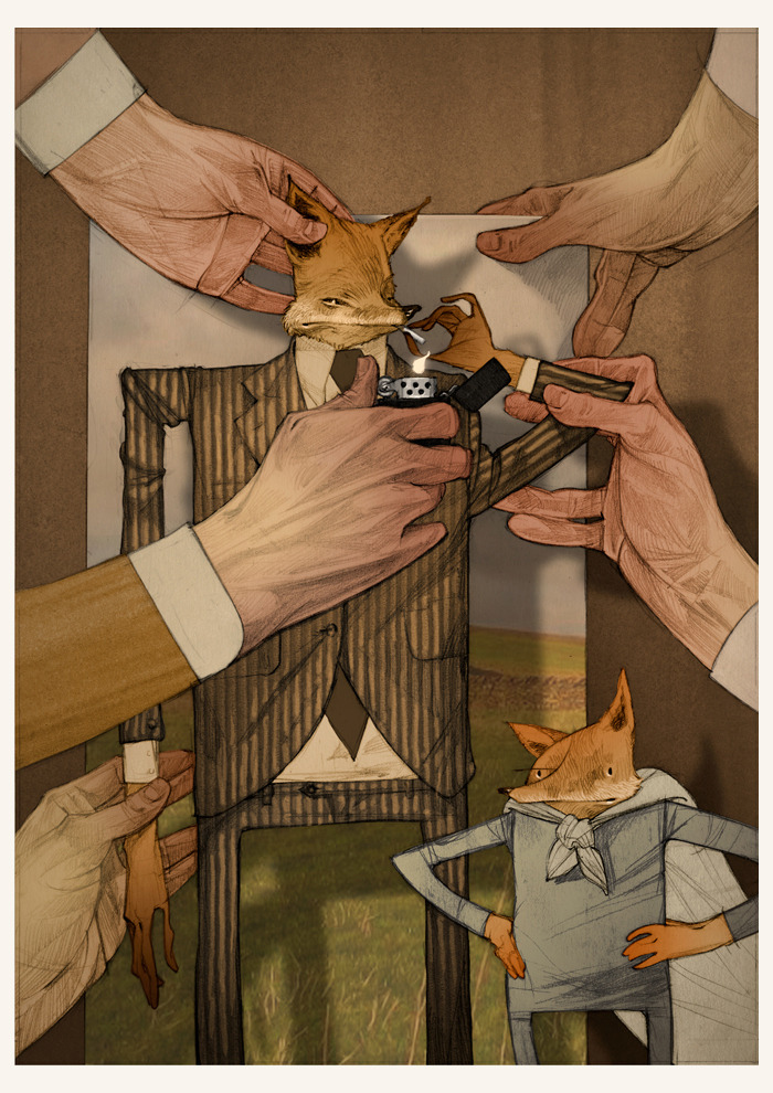 "My Fantastic Mr. Fox-inspired print, titled ""Figure One: Vulpes Vulpes"" is available for purchase here. I was always quite fond of this image, capturing the manner in which the film was made as well as the darker/adult themes that Wes Anderson always (some more subtle than others) would touch on. Thanks for reading! Rich"