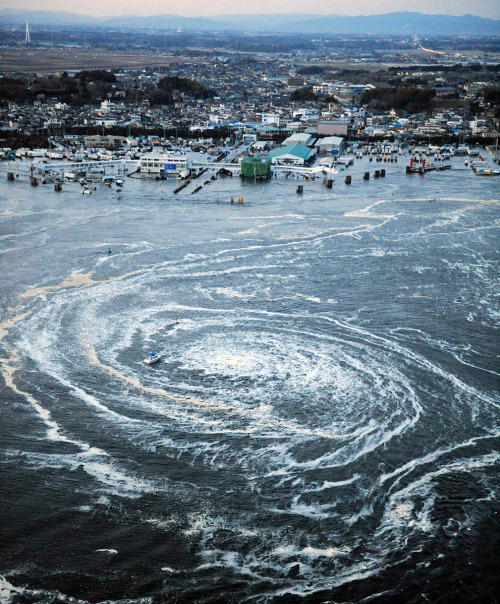 guillee:   A whirlpool is seen near Oarai City, Ibaraki Prefecture, northeastern Japan, March 11, 2011. (REUTERS/Kyodo)  Unbelievable. Hello, fellow viewer. Instead of just liking or reblogging this, why not also take a few minutes to donate to the relief efforts? Here are a few places where you can do so: International Federation of Red Cross and Red Crescent Societies American Red Cross American Red Cross Japan Earthquake Disaster Relief on Amazon (The easiest way to donate, if you already have an Amazon account.) GlobalGiving Japan Earthquake and Tsunami Relief Fund