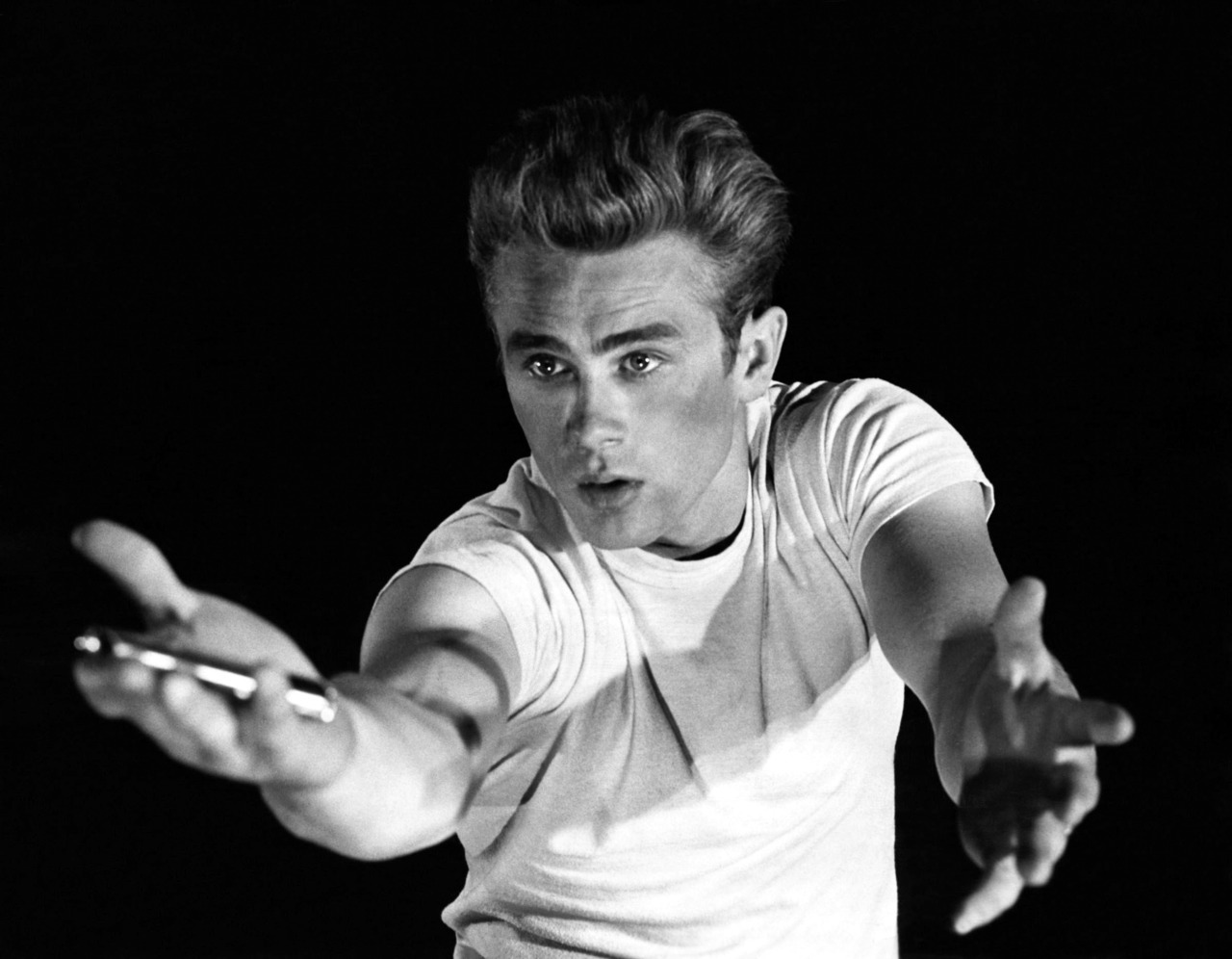 """You're tearing me apart!"" -James Dean as Jim Stark in Rebel Without a Cause Black and white movie still of the day"