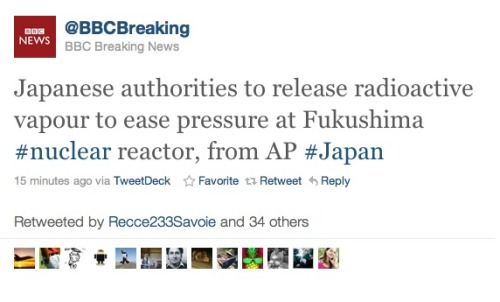 Via BBC: Japanese authorities to release radioactive vapour to ease pressure at Fukushima #nuclear reactor, from AP #Japan