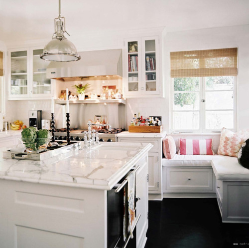 kitchen love! especially that corner seat! prettystuff:  thinkdecor:via lonny magazine