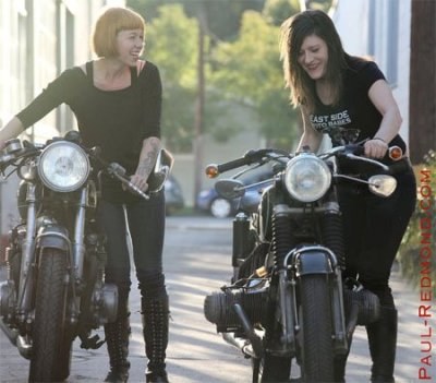 Real moto ladies! Ezra and Stacie from California. Newly rebuilt 1975 CB550 Honda and a 1969 R60US BMW. (Photo by Paul Redmond)