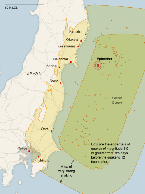 Epicentre, répliques et zones affectées au Japon (carte) inothernews:  Via the New York Times: Kamaishi A tsunami more than 13 feet high struck Kamaishi and Miyako at 3:21 pm local time.  Ofunato A tsunami more than 10 feet high was observed at Ofunato Port. More than 300 houses were washed away in Ofunato city. Kesennuma NHK television showed footage of a huge fire sweeping across Kesennuma, a city of more than 70,000 people. Whole blocks appear to be ablaze. Television footage also showed a large ship being swept away and ramming directly into a breakwater.  Ishinomaki A tsunami over 10 feet high was observed in Ishinomaki city and television footage showed homes being washed away. Sendai In Sendai, the closest major city to the epicenter, the government put the official death toll at more than 300. Some 70,000 people evacuated to shelters, according to Kyodo News.  Soma At 3:50 pm on Friday, a tsunami surging higher than 24 feet struck Soma Port. Many oceanside houses were underwater. Oarai A 14-foot tsunami hit Oarai Port at about 4:52 pm on Friday. Tokyo Power has been cut to four million homes in and around Tokyo and several fires were seen blazing across the city. Downtown buildings shook violently during the quake. Ichihara A large fire erupted at the Cosmo oil refinery and burned out of control with 100-foot high flames.
