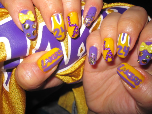 Did my Lakers nails last night! Man I love my team…I bleed purp & yellow, ya dig ;)