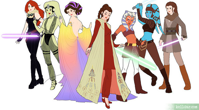 dbsw:  Star Wars Girls // by kelldar Click through to see the rest of them and many other illustrations like this.