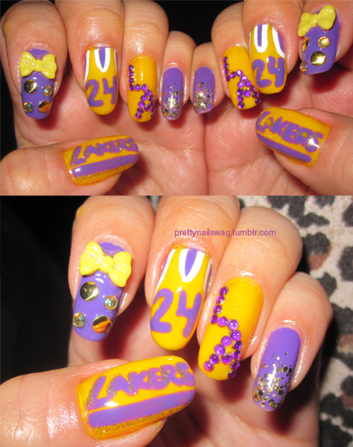 My Lakers Manicure, this took me foreverrrr to do, but well worth it: LA Colors Art Deco Pen in Yellow LA Colors in Tropical Breeze (Purple) Nubar Nail Art Pen in Basic White LA Colors Art Deco Pen in Gold Glitter Purple Rhinestones from eBay Gold Studs from Michael's Yellow Bows from eBay Seche Vite Top Coat (BEST THING EVER)