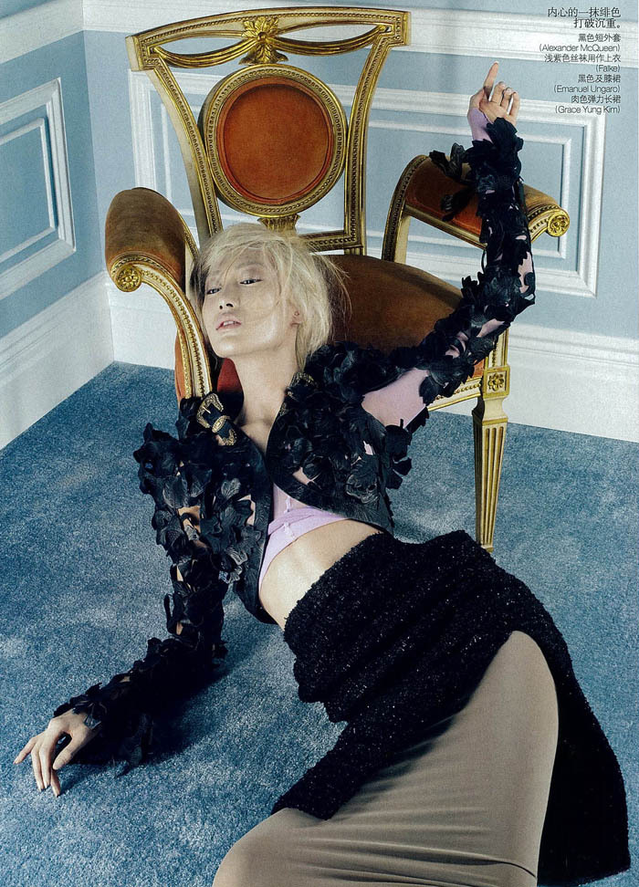Sprawled out in McQueen; the only way to live. Shu Pei for Chinese Vogue March 2011.