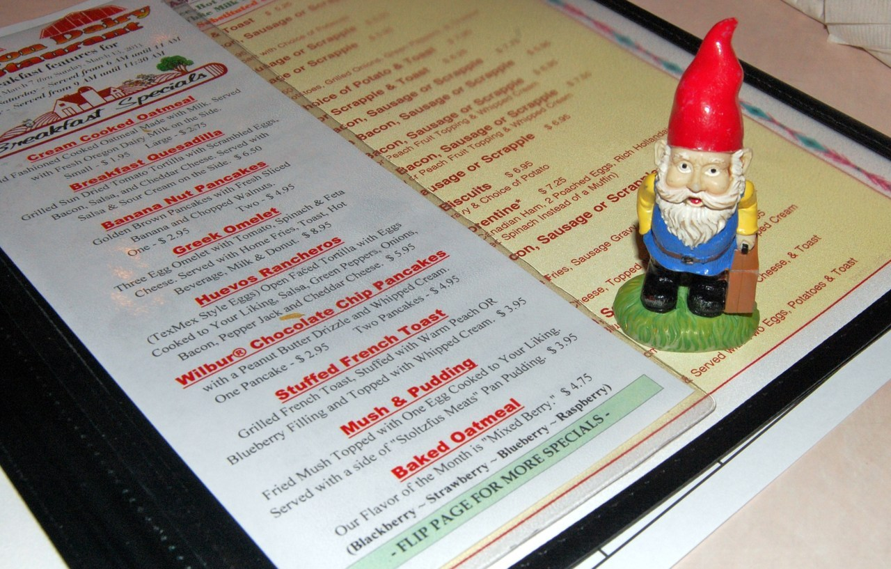 "65/365 Days of Gnome: Mush & Pudding Mush and Pudding - Fried Mush Topped with One Egg Cooked to Your Liking, Served with a side of 'Stoltzfus Meats' Pan Pudding.Oregon Dairy Restaurant, Lancaster, PA""Waitress, could I get my mush extra-mushy this morning?"""