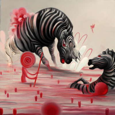 ART: Some serious zebra damage by Michael Page (San Francisco) upcycled via magnolius