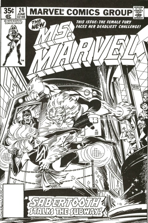 Unpublished cover by Dave Cockrum & Terry Austin, as Ms. Marvel's first series was cancelled with #23. The story would later see print in the Marvel Super Heroes anthology series.