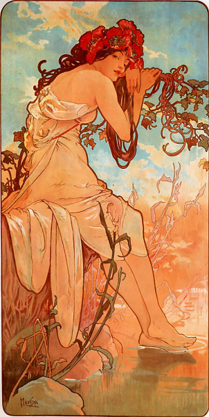 I will always <3 Mucha!  Classic, beautiful, breathtaking!  smurfinator:  Summer by Alfons Mucha