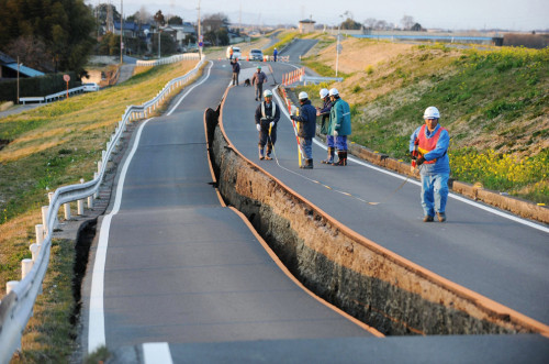This road in Japan was ripped in half. via i.imgur.com