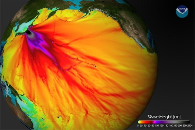 Visualizing Tsunami wave height as it crossed the Pacific. As released yesterday by the NOAA Environmental Visualization Laboratory:  Model runs from the Center for Tsunami Research at the NOAA Pacific Marine Environmental Laboratory show the expected wave heights of the tsunami as it travels across the Pacific basin. The largest wave heights are expected near the earthquake epicenter, off Japan.