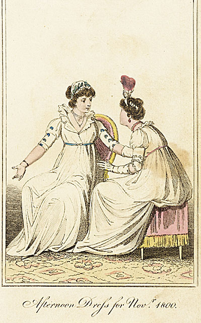 Afternoon dress for November 1800.  The girl on the left has such a nice little sleeve decoration.