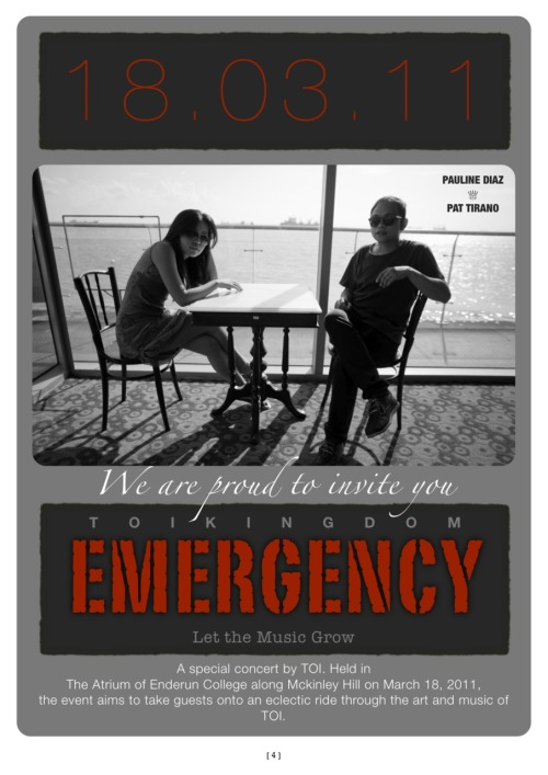 "Dig Radio is giving away a pair of VIP Tickets to the TOI EMERGENCY event on Friday March 18, 2011 at the Enderun Colleges! It's not just any ordinary ticket, but 2 VIP Tickets! That means you can mingle around with your favorite rockstars in style! Special guests for that night are Louie Talan (on upright bass), Marvin Tayengco (Bass 2), Eo Marcos (drums), Deej Rodriguez (percussion). Indios will be the front act.  It's easy to join, just follow @DigRadioPH on twitter and tweet: ""@DigRadioPH I want VIP Tickets to @TOIuniverse #TOIemergency"" Winner will be announced tomorrow night! For ticket info please check out the event page :)"
