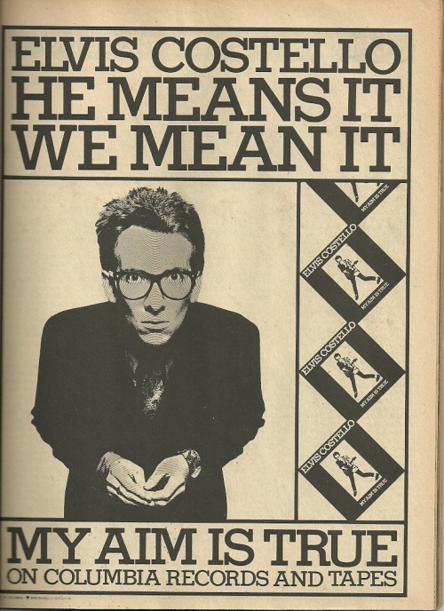 xtraneus:  Creem v.9 n. 11, April 1978 Advert for Elvis Costello's debut album