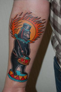 Circus bear #tattoo with sun… via traditionaltattoos:  Sol