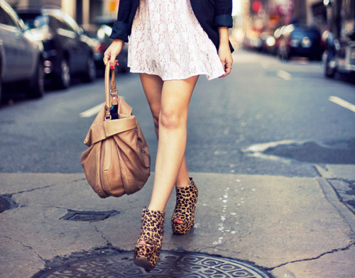 Strutting down the street.