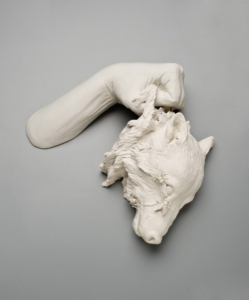 by Kate Macdowell   We do not want merely to see beauty, though, God knows, even that is bounty enough.  We want something else which can hardly be put into words—to be united with the beauty we see, to pass into it, to receive it into ourselves, to bathe in it, to become part of it. – C.S. Lewis. In my work this romantic ideal of union with the natural world conflicts with our contemporary impact on the environment.  These pieces are in part responses to environmental stressors including climate change, toxic pollution, and gm crops.  They also borrow from myth, art history, figures of speech and other cultural touchstones.  In some pieces aspects of the human figure stand-in for ourselves and act out sometimes harrowing, sometimes humorous transformations which illustrate our current relationship with the natural world.  In others, animals take on anthropomorphic qualities when they are given safety equipment to attempt to protect them from man-made environmental threats.  In each case the union between man and nature is shown to be one of friction and discomfort with the disturbing implication that we too are vulnerable to being victimized by our destructive practices. I hand sculpt each piece out of porcelain, often building a solid form and then hollowing it out.  Smaller forms are built petal by petal, branch by branch and allow me the chance to get immersed in close study of the structure of a blossom or a bee.  I chose porcelain for its luminous and ghostly qualities as well as its strength and ability to show fine texture.  It highlights both the impermanence and fragility of natural forms in a dying ecosystem, while paradoxically, being a material that can last for thousands of years and is historically associated with high status and value.  I see each piece as a captured and preserved specimen, a painstaking record of endangered natural forms and a commentary on our own culpability.
