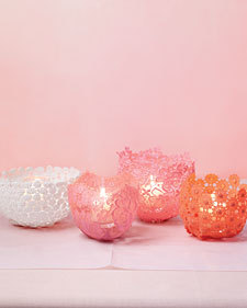 DIY lacey votive holders