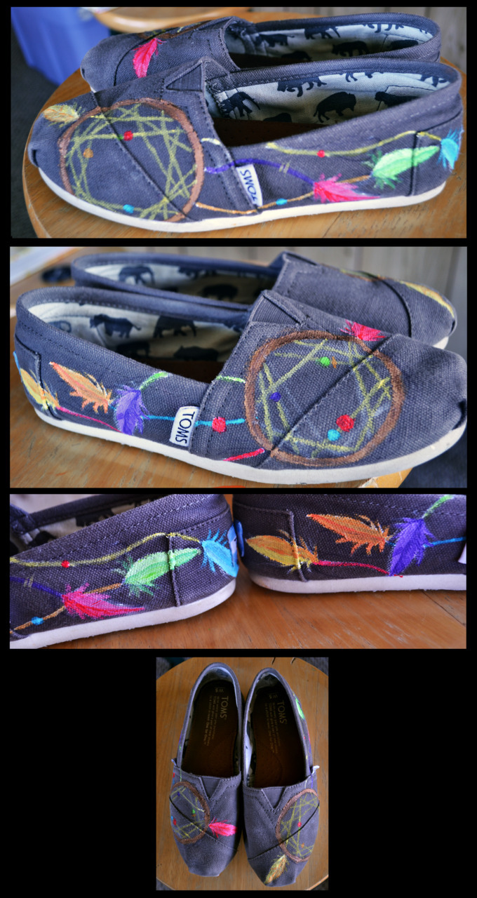Dreamcatchers, commissioned by a friend Acrylic paint on canvas TOMS shoes
