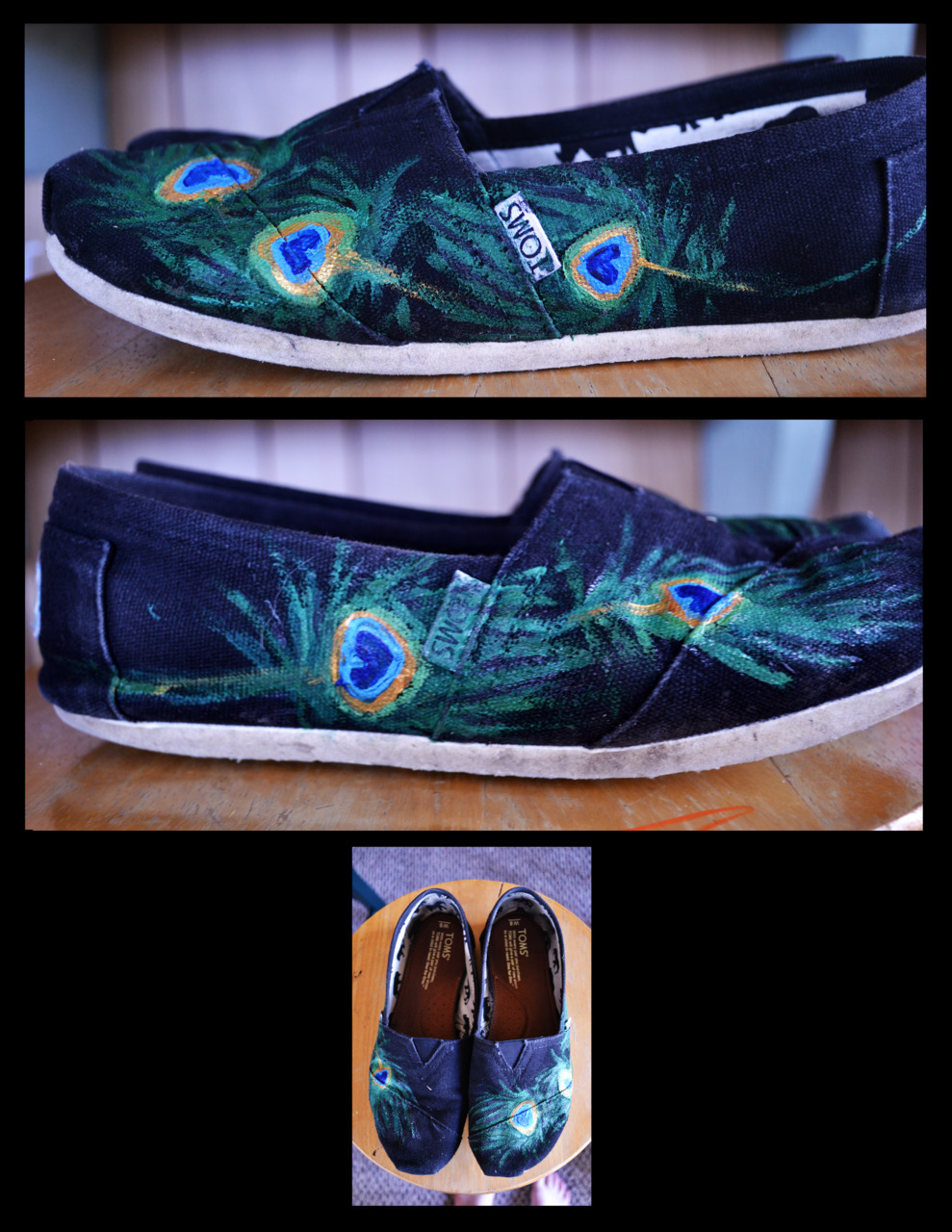Peacock feathers on TOMS Acrylic paint