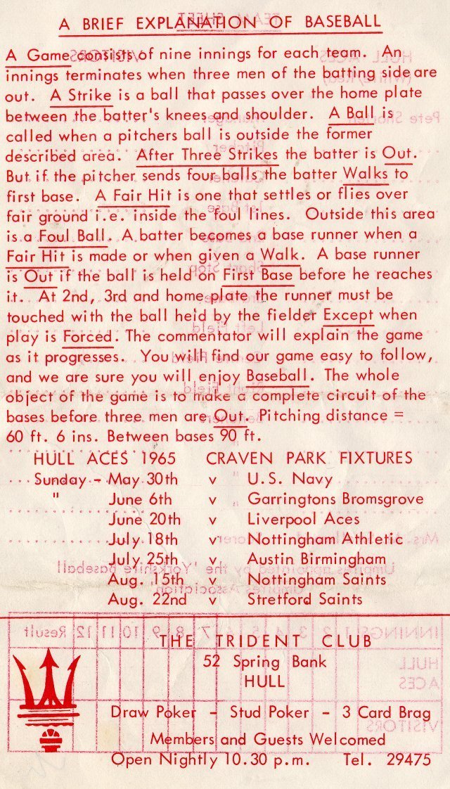 A Brief Explanation of Baseball, from a match programme of British team, Hull Aces, 1965.